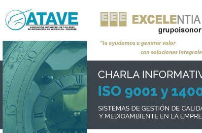 Jornada sobre las ISO 9001 y 14001, sistemas de gestión de calidad y medio ambiente de la empresa. El 24 de mayo a las 20:00 horas en ATAVE. En colaboración con ISONOR.